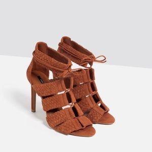 Zara Brick Red Braided Lace-Up Heel Suede Sandals